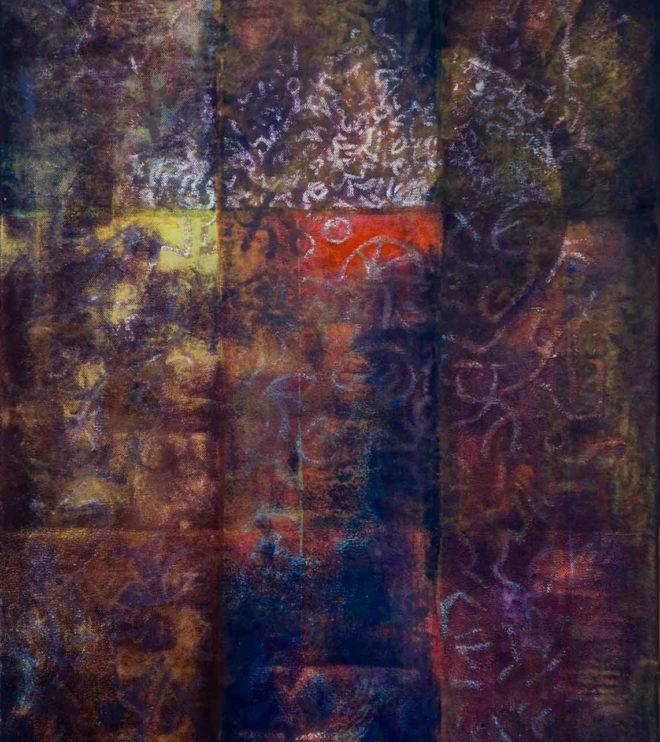 50 x 70 cm, Acryl und Ölpastell auf Leinen