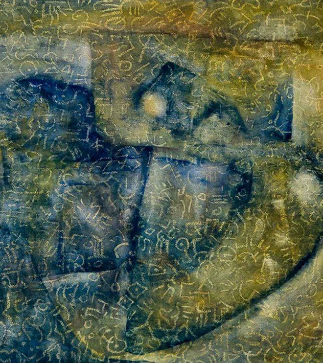 94 x 64 cm, Acryl und Ölkreide auf Papier