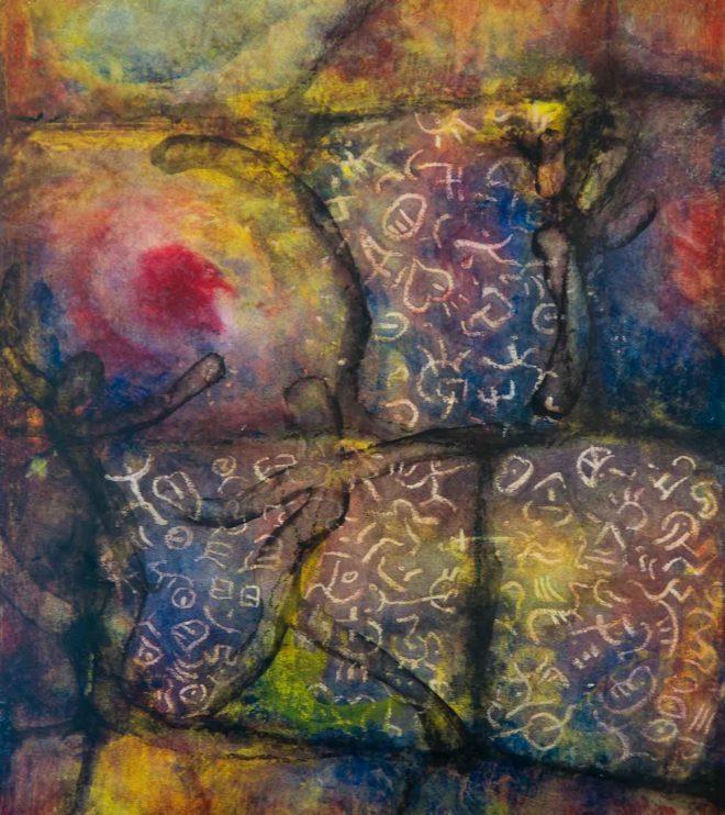 50 x 64 cm, Acryl und Wachs auf Papier