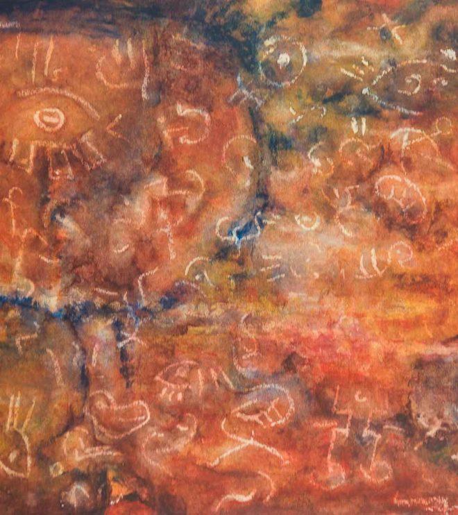 64 x 50 cm, Acryl und Wachs auf Papier