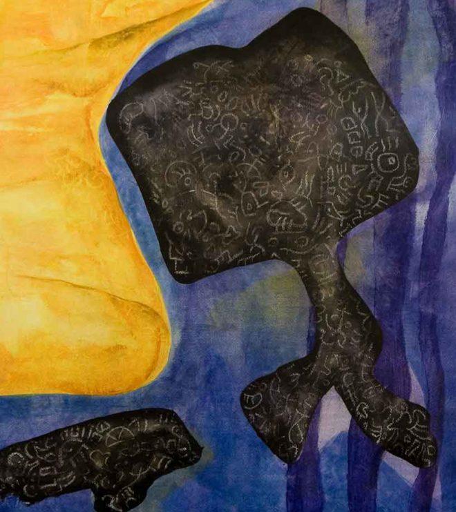 64 x 94 cm, Acryl und Ölpastell auf Papier