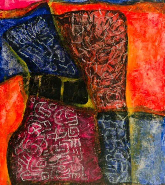 50 x 64 cm, Acryl und Kreide auf Papier