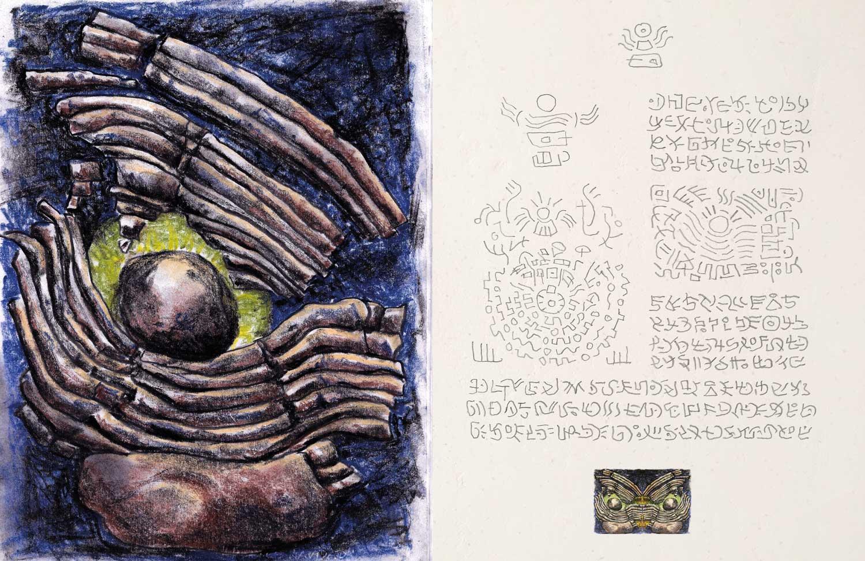 """Doppelseite 18/19 aus dem Buch """"Orm-Art – Vorlagen zur Intuition"""""""